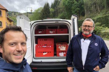 Laurent Arbeit et Alain Belli (Maison Herrscher) qui livre les repas