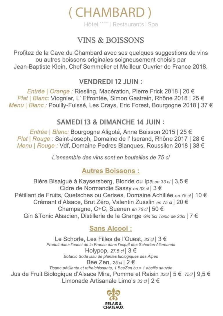 La sélection des vins signée par Jean-Baptiste Klein