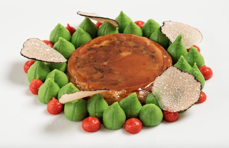 ravioles de purée de petits pois/ truffes/ beurre noisette